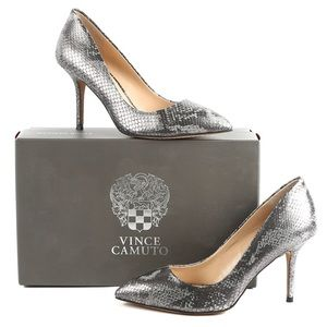 Vince Camuto Snakeskin Pointy Toe Heels